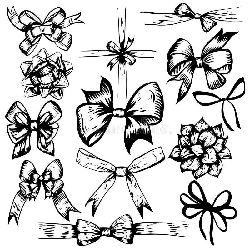 Vektorillustration av uppsättningen för klotter för berömpilbågedekor den svartvita Beståndsdelar som isoleras på vit bakgrund stock illustrationer