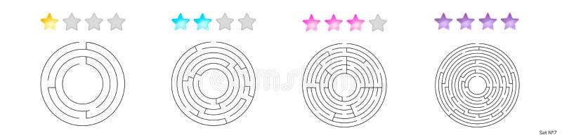 Vektorillustration av uppsättningen av 4 runda labyrinter för ungar vektor illustrationer