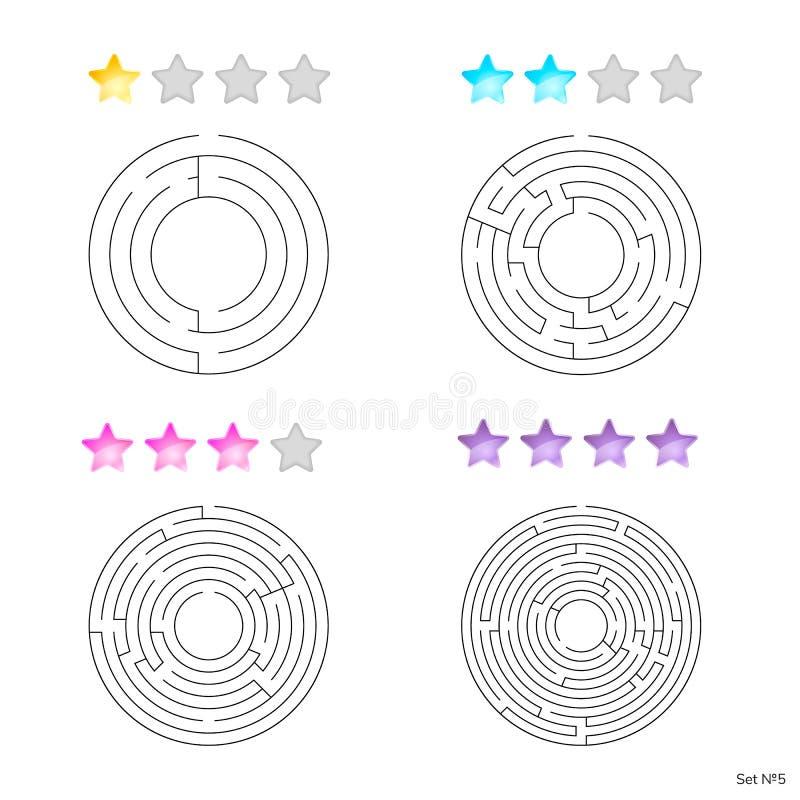 Vektorillustration av uppsättningen av 4 runda labyrinter för ungar på diffe royaltyfri illustrationer
