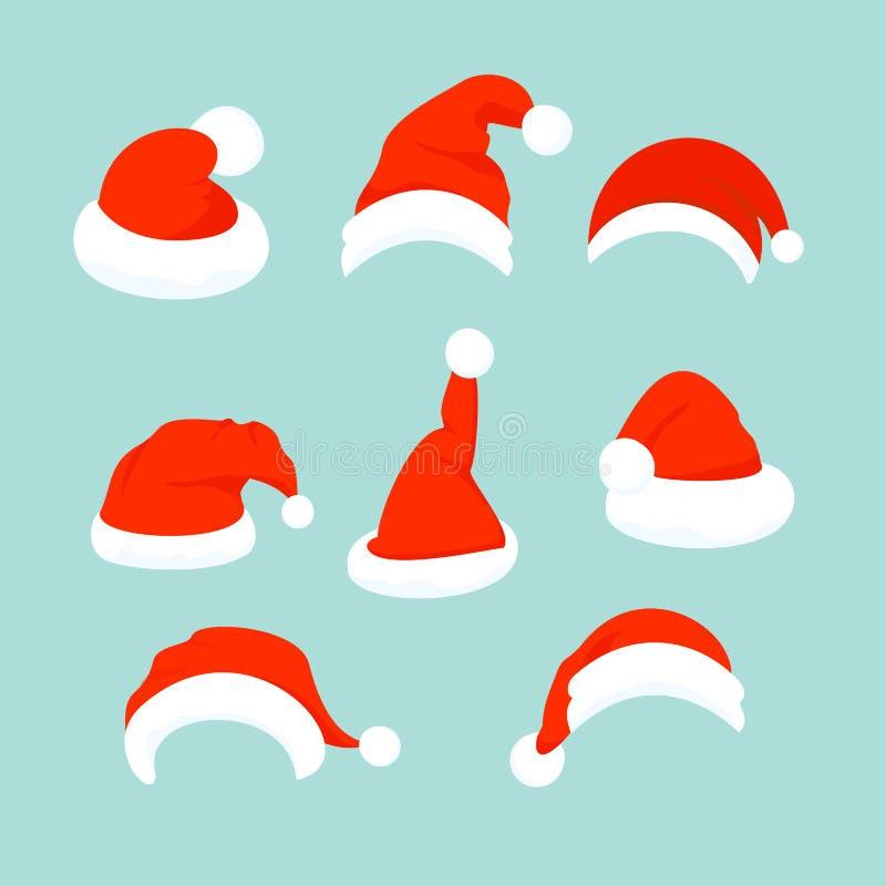 Vektorillustration av uppsättningen av Santa Hats i plan tecknad filmdesign vektor illustrationer