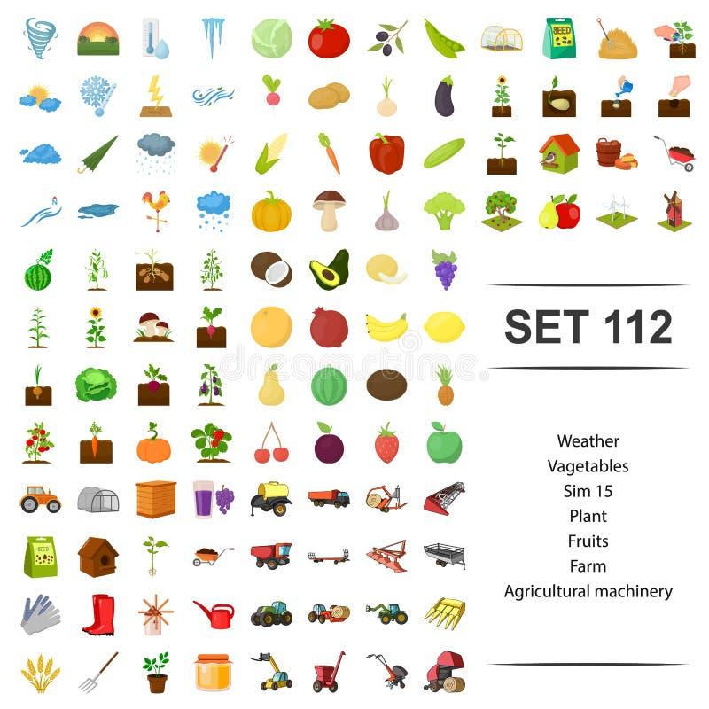 Vektorillustration av väder, grönsak, växt, frukt, uppsättning för symbol för jordbruks- maskineri för lantgård vektor illustrationer