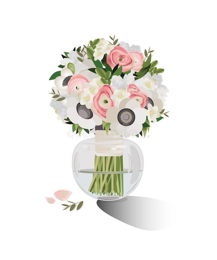 Vektorillustration av vårblommabuketten För kort för hälsa kort, för bröllopkort, födelsedag- och för moderdag stock illustrationer