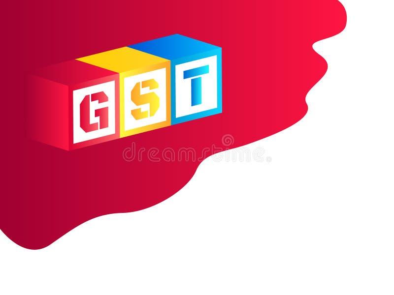 Vektorillustration av varor och tjänstskatt eller GST med rosa och vit backgroud stock illustrationer