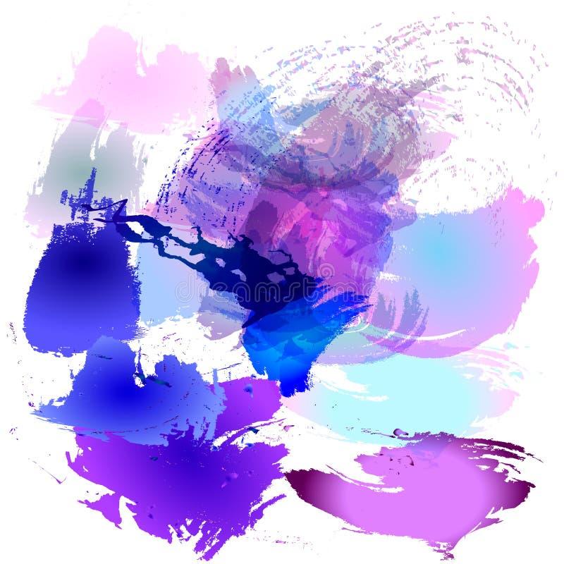 Vektorillustration av vattenfärgborsteslaglängder av blått, rosa färger, mönstrade blommor på en vitbokbakgrund stock illustrationer