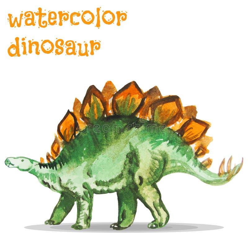 Vektorillustration av vattenfärgdinosaurien vektor illustrationer