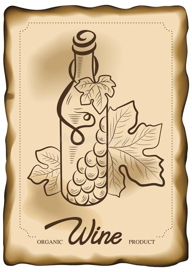 Vektorillustration av vinflaskan och vinrankadruvan på gammal pappers- bakgrund Begrepp för organiska produkter, skörd stock illustrationer