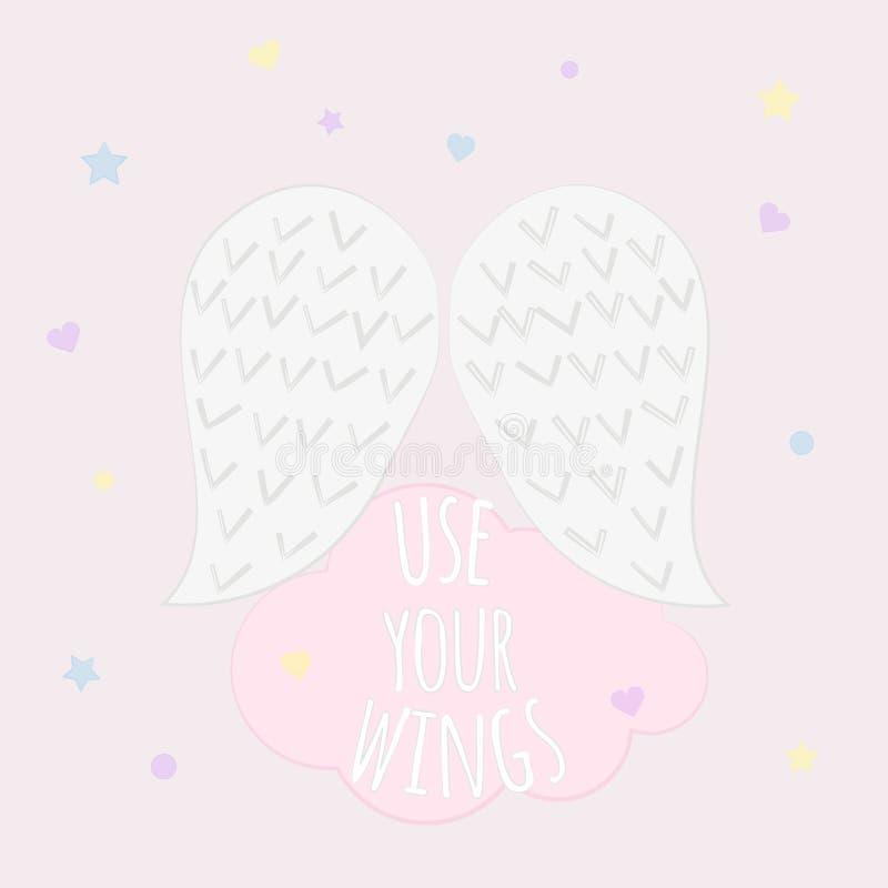 Vektorillustration av vingar för ängel` s med text`-bruk din ving` på rosa bakgrund 10 eps vektor illustrationer