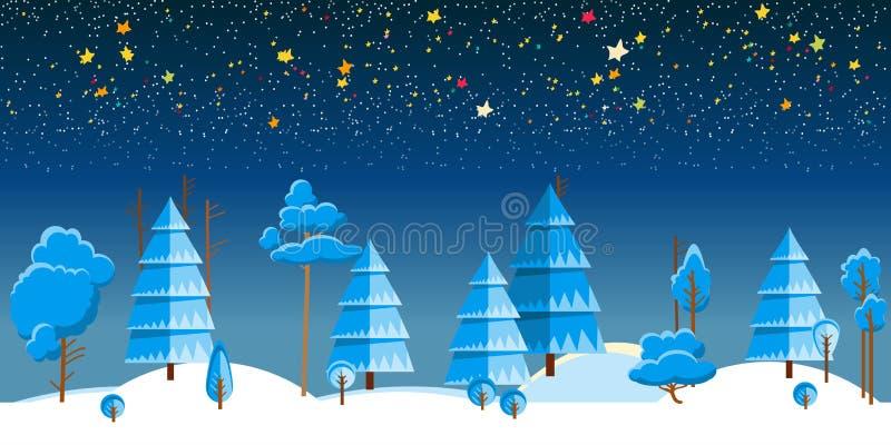 Vektorillustration av vinternattskogen royaltyfri illustrationer