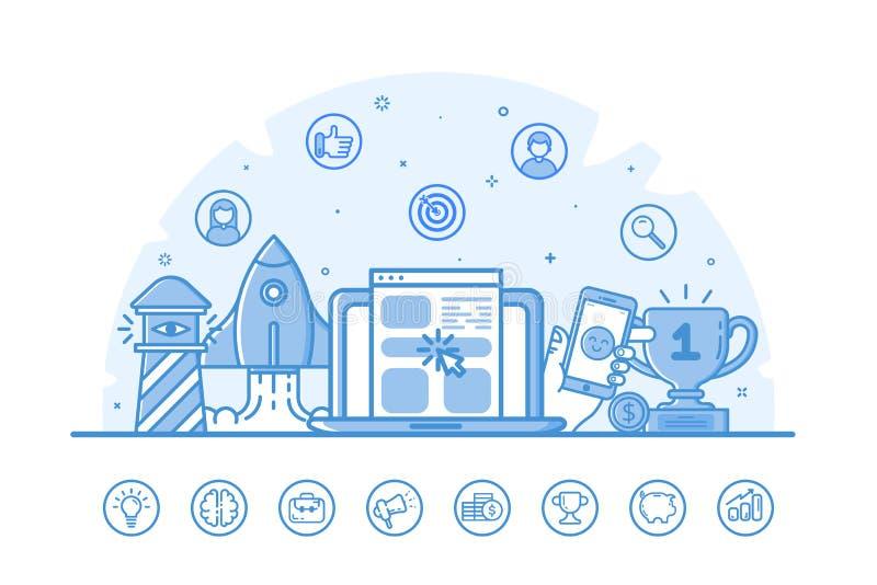 Vektorillustration av websitebanret med blåa symboler i plan översikt fylld stil royaltyfri illustrationer
