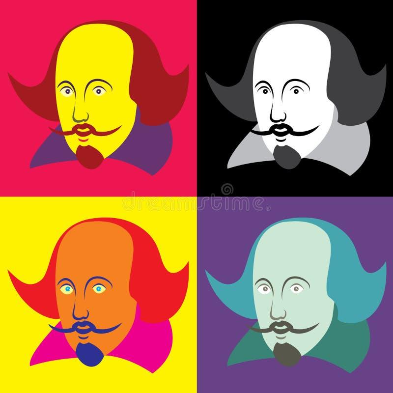Vektorillustration av William Shakespeare i tecknad filmstil vektor illustrationer