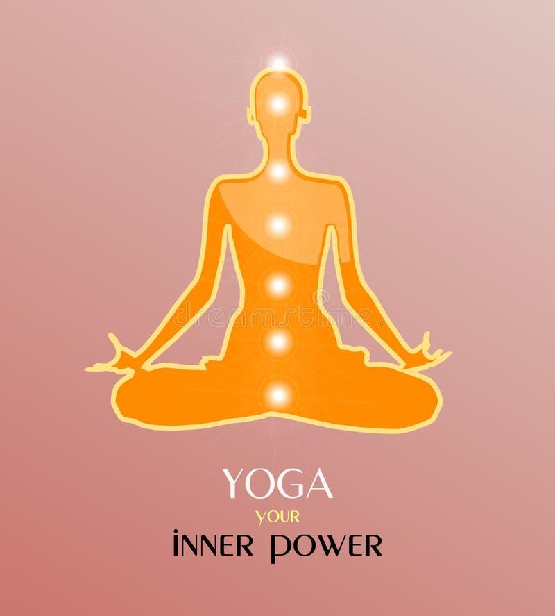 Vektorillustration av yogameditationen i lotusblommaposition Yoga är din inre makt vektor illustrationer