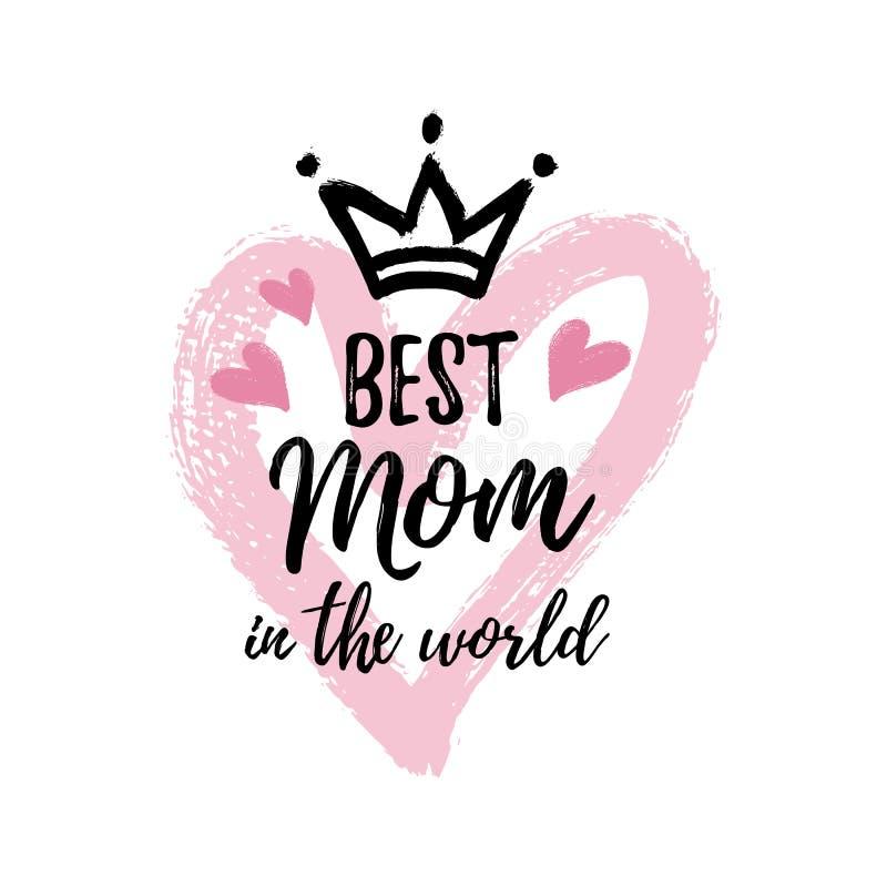 Vektorillustration, bästa mamma i världskortet royaltyfri illustrationer