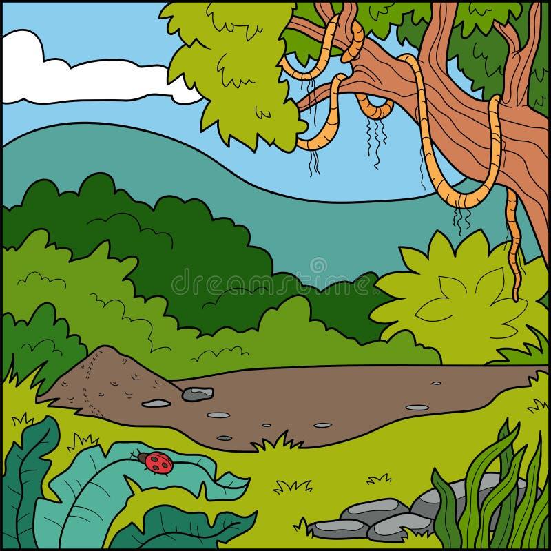 Vektorillustration, bakgrund (den tropiska skogen) stock illustrationer