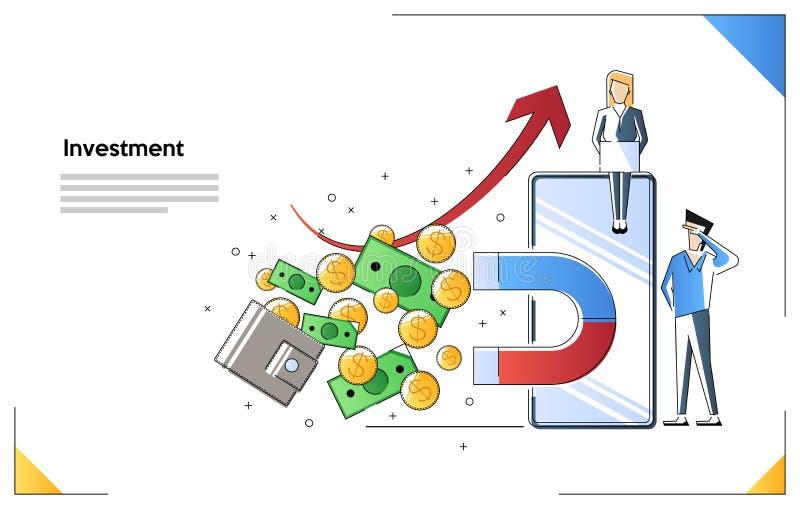 Vektorillustration, begreppet av tilldragning av investeringen, magneten av framgång, dragningen av pengar l?nande royaltyfri illustrationer