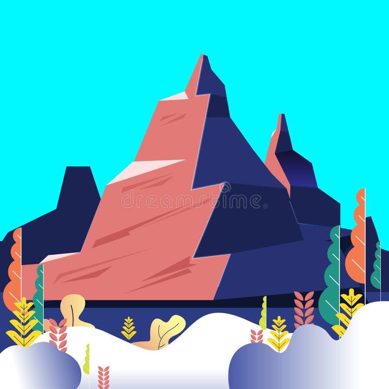 Vektorillustration - berglandskapnatur Träd Spännande sikt Ett stort berg är den omgivna floden konst Bakgrund vektor illustrationer