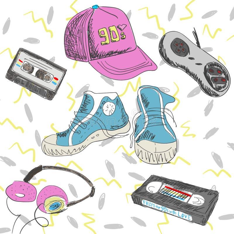 Vektorillustration - beståndsdelar av 90-tal Kassetter gymnastikskor, styrspak, lock, hörlurar Dra tillbaka till 90th vektor illustrationer