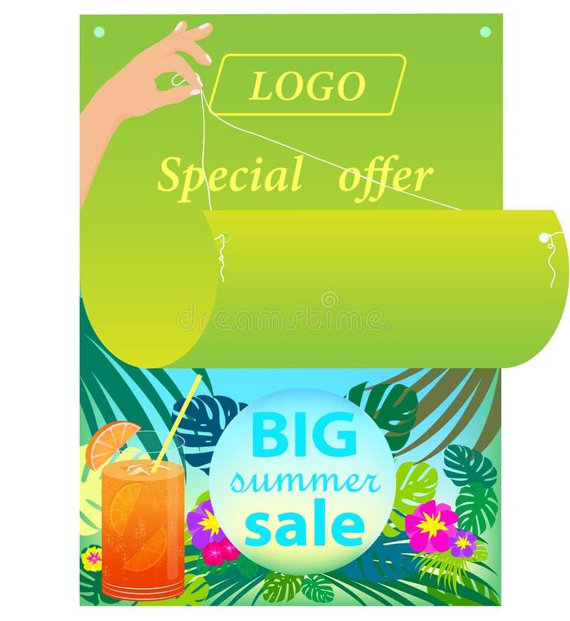Vektorillustration, bild av den ljusa annonserande affischen på en vit bakgrund royaltyfri illustrationer