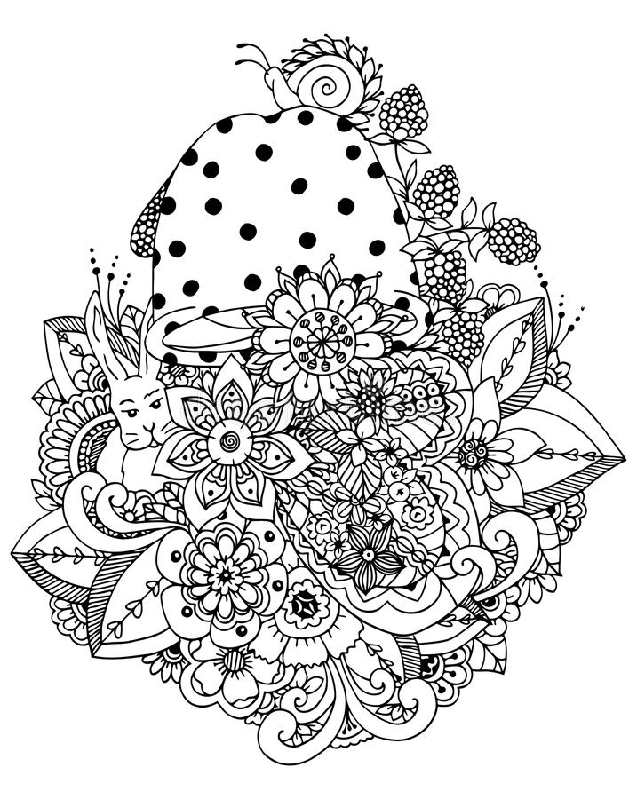 Vektorillustration, blommor, champinjonklotterteckning Meditativ övning Anti-spänning för färgläggningbok för vuxna människor _ stock illustrationer