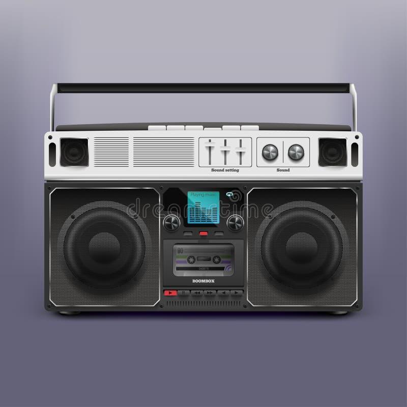 Vektorillustration boombox auf Lager Tonbandgerät Rekordspieler Retro-, Rastafarian, Reggae ENV 10 vektor abbildung