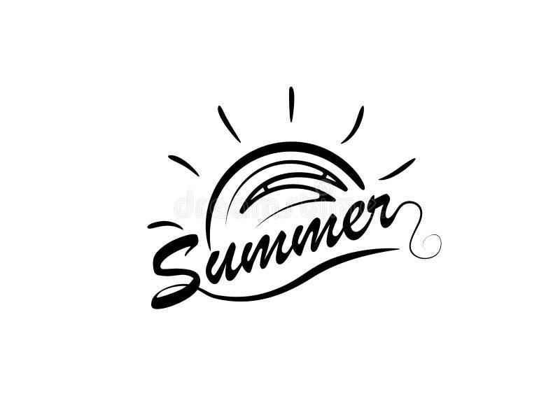 Vektorillustration: Borsta bokstäversammansättning av sommarsemestern som isoleras på vit bakgrund vektor illustrationer