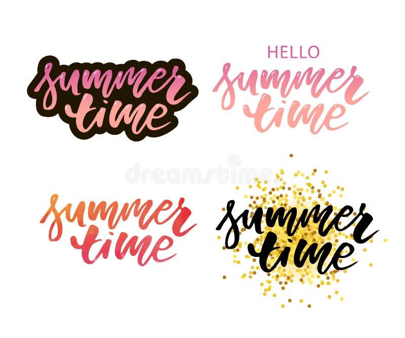 Vektorillustration: Borsta bokstäversammansättning av sommarsemestern som isoleras på vit bakgrund Uppsättning royaltyfri illustrationer