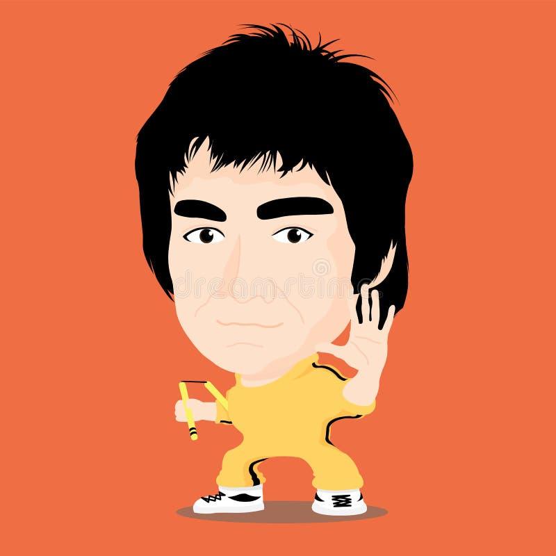 Vektorillustration - Bruce Lee lizenzfreie stockfotos