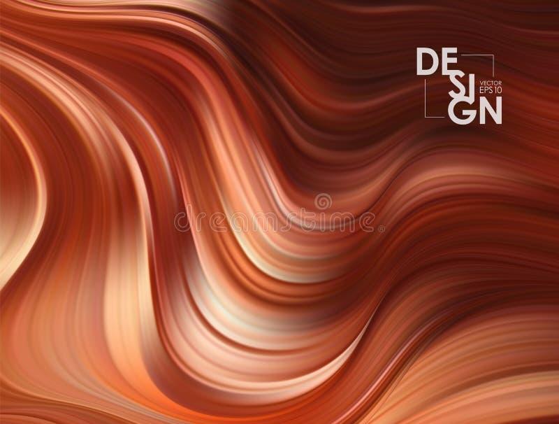 Vektorillustration: Brun flödesbakgrund Bakgrund för färg för vågchokladvätskeform Moderiktig konstdesign royaltyfri illustrationer