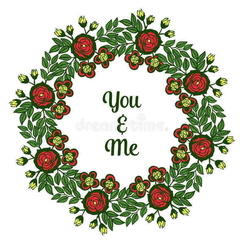 Vektorillustration dekorativ von der Karte Sie und ich mit grünen belaubten bunten Blumenrahmen lizenzfreie abbildung