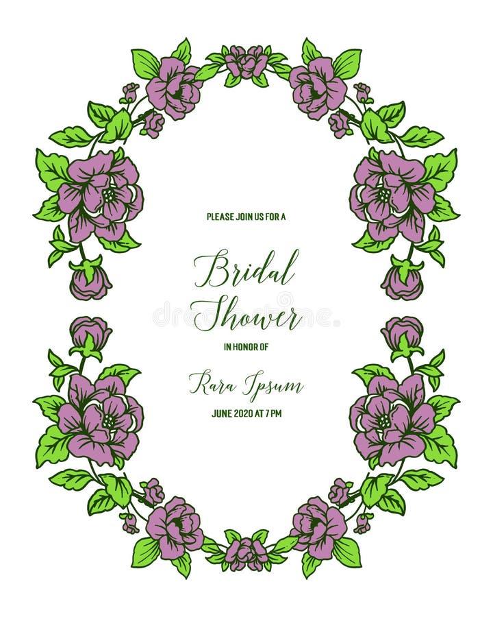 Vektorillustration dekorativ von der Kartenbrautdusche mit elegantem purpurrotem Blumenrahmen lizenzfreie abbildung