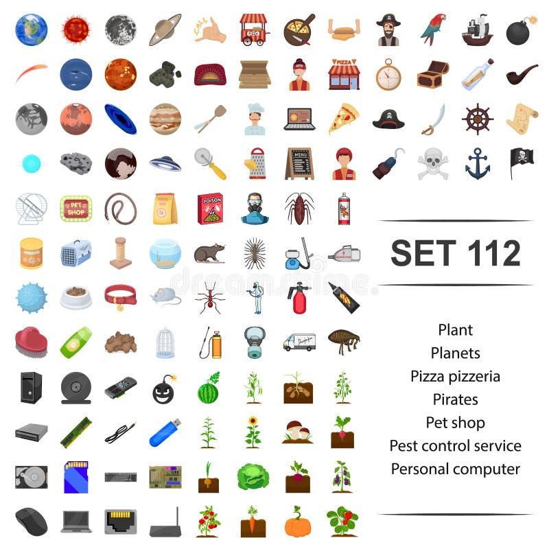 Vektorillustration der Anlage, Planet, Pizza, Pizzeria, Pirat, Geschäft- für Haustiereplagekontrolldienst persönlich, Computeriko stock abbildung