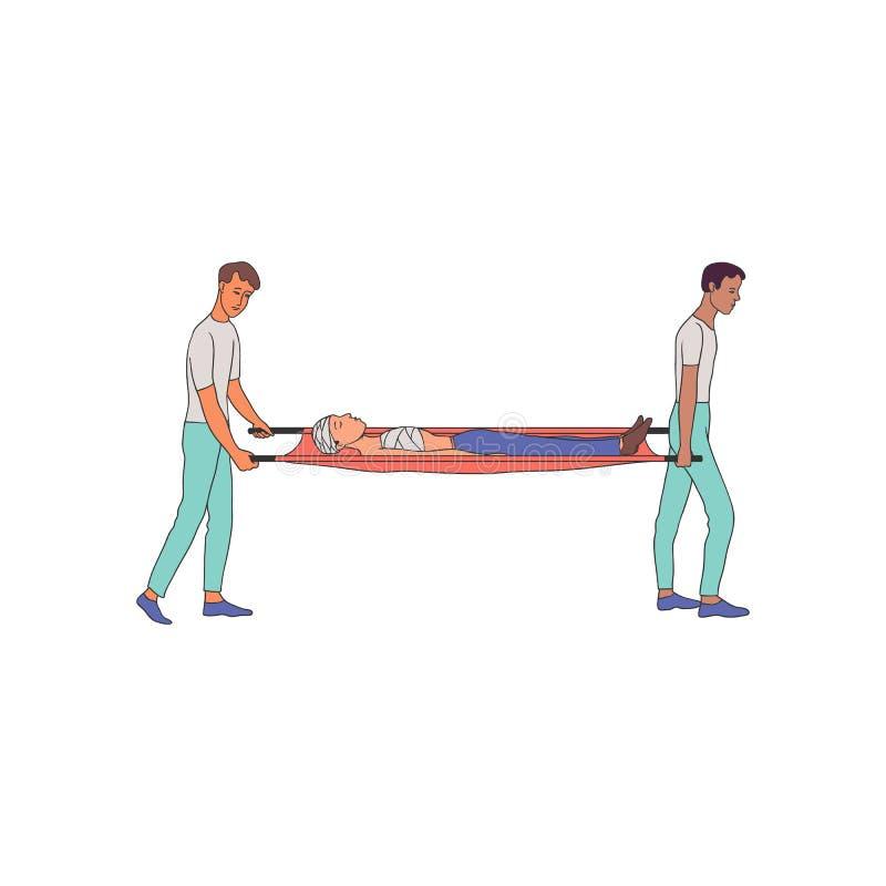 Vektorillustration der ersten Hilfe - medizinische Spezialisten tragen kranke Person mit Verbänden auf Bahren stock abbildung