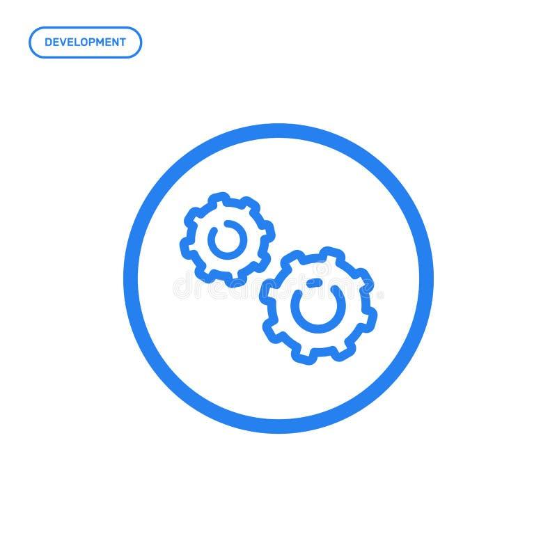 Vektorillustration der flachen Linie Ikone Grafikdesignkonzept der Entwicklung vektor abbildung