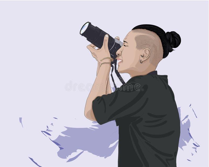 Vektorillustration der Frau Foto machend stockbilder