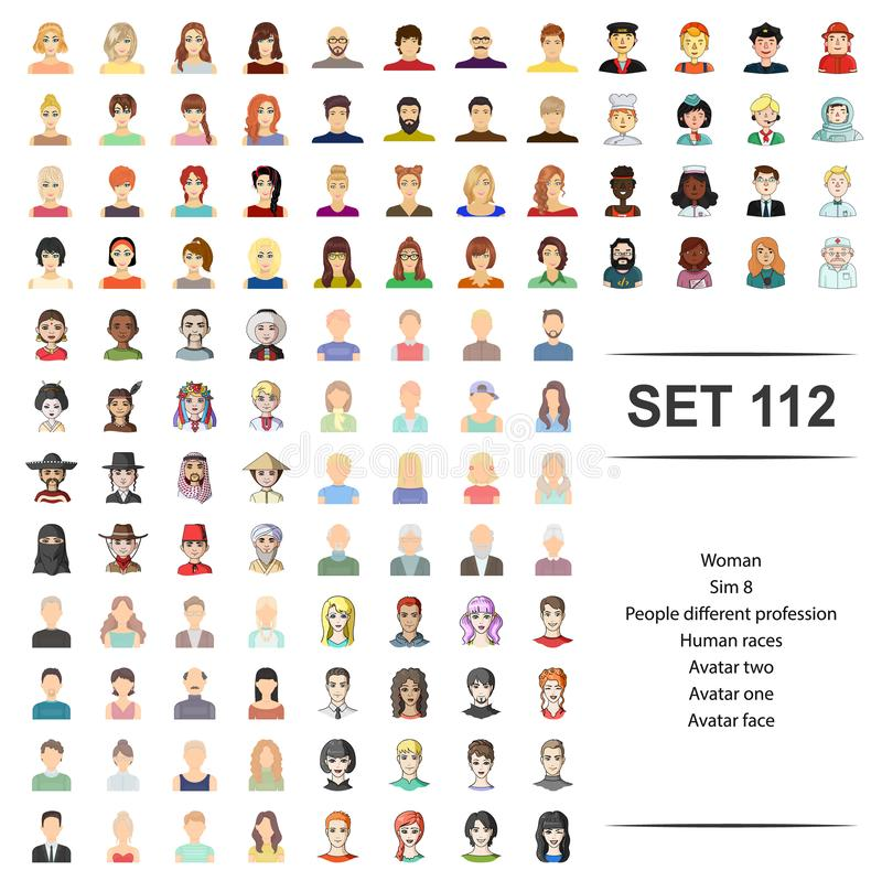 Vektorillustration der Frau, Leute, unterschiedlich, Beruf, Avataragesichts-Ikonensatz der menschlichen Rassen lizenzfreie abbildung