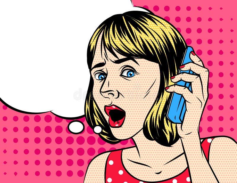 Vektorillustration der Frau telefonisch sprechend lizenzfreie abbildung