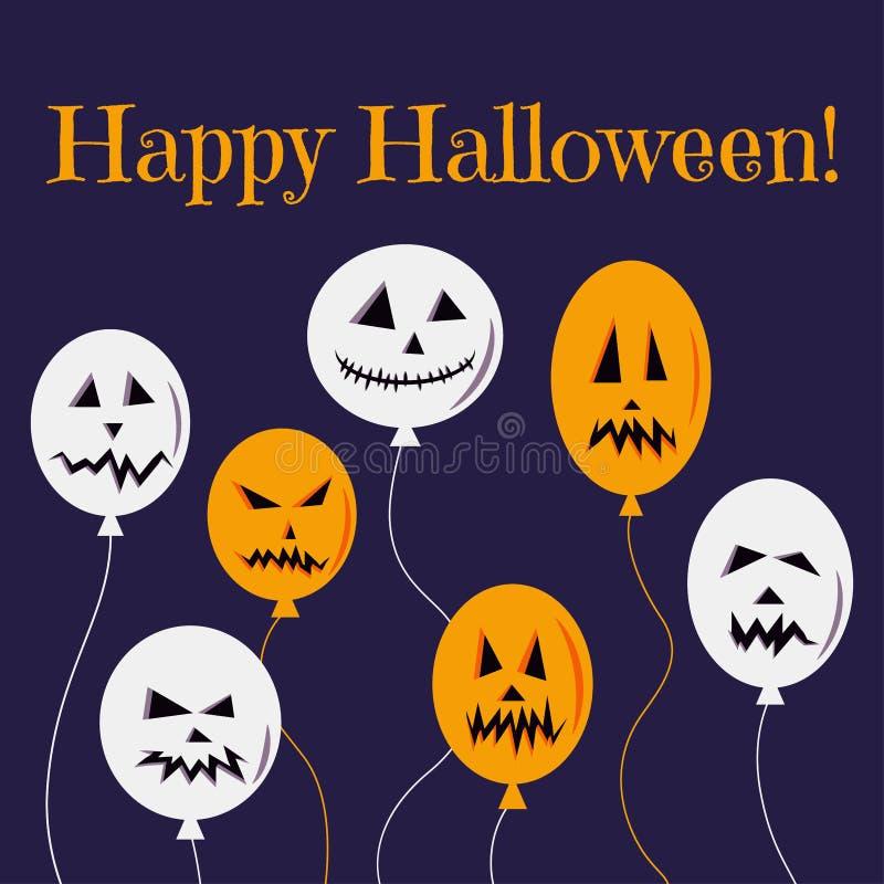 Vektorillustration der glücklichen Halloween-Grußkarte oder Parteieinladung mit bunten weißen und orange Ballonen mit furchtsamen lizenzfreie abbildung