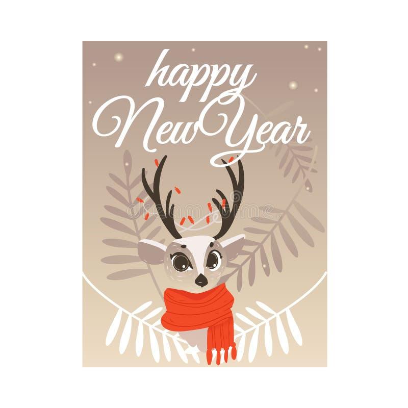 Vektorillustration der Glückwunschkarte des neuen Jahres mit Ren im roten Schal mit Lichtern auf Hörnern lizenzfreie abbildung