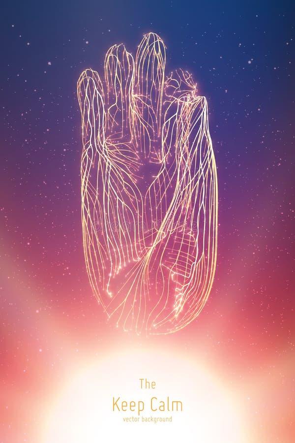 Vektorillustration der Hand und des Fingers berühren sich als Buddha-Hand Konzept von meditaion, Stille Digital-Cyberrichtung von lizenzfreie abbildung