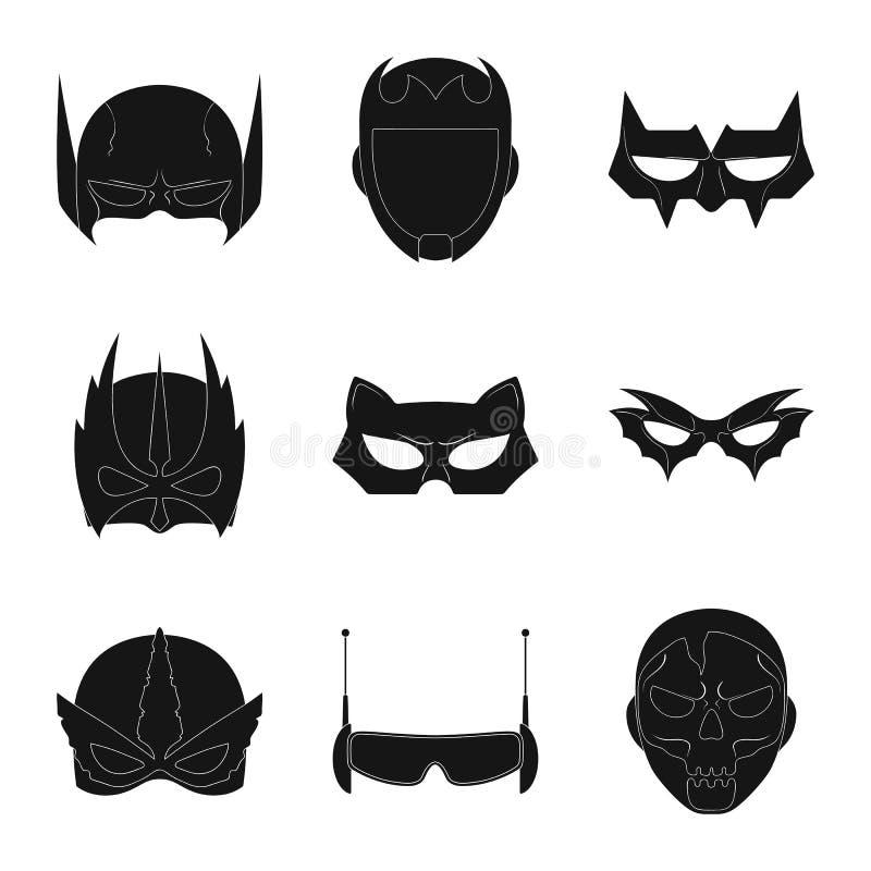 Vektorillustration der Held- und Maskenikone Sammlung der Held- und Superheldvektorikone für Vorrat lizenzfreie abbildung
