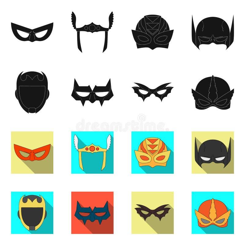 Vektorillustration der Held- und Maskenikone Satz der Held- und Superheldvektorikone für Vorrat lizenzfreie abbildung