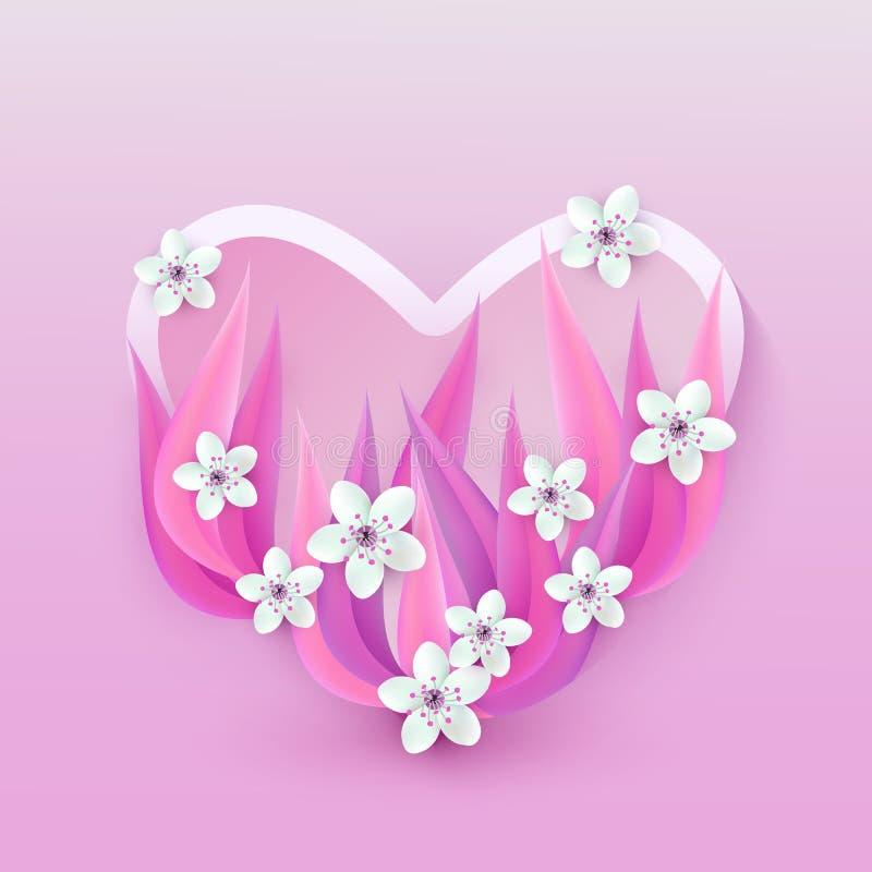 Vektorillustration der Herzform mit weißen Kirsch- oder Apfelblumen auf rosa Blättern vektor abbildung