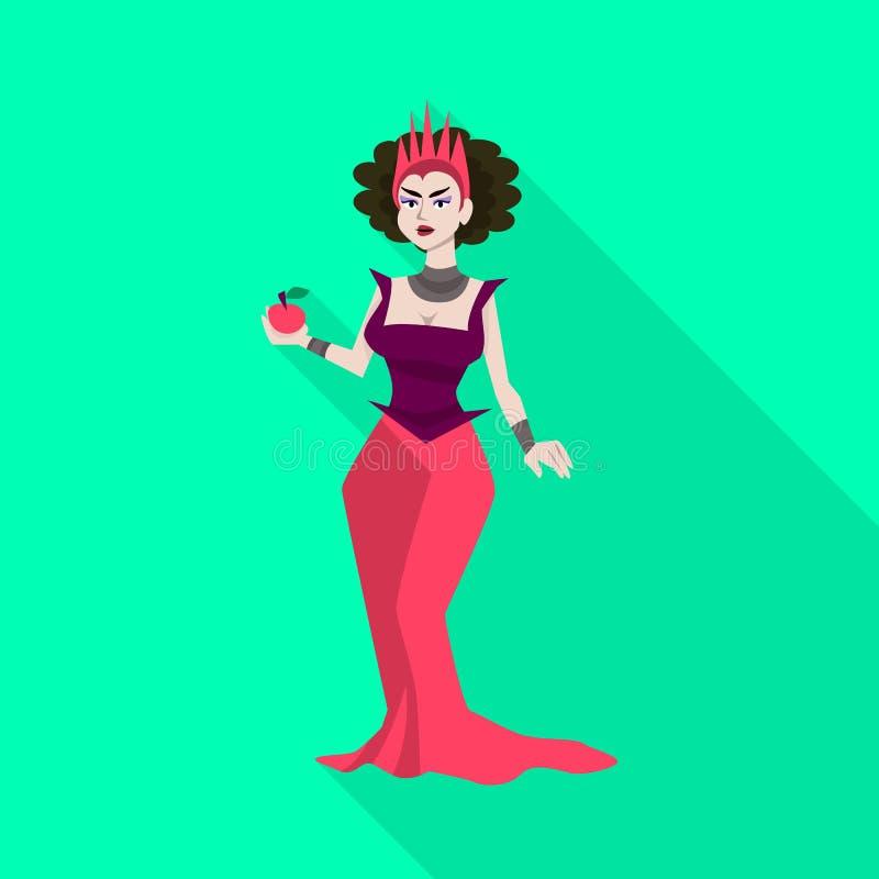 Vektorillustration der Hexen- und Apfelikone Stellen Sie von der Hexe und von der Fantasievektorikone für Vorrat ein lizenzfreie abbildung