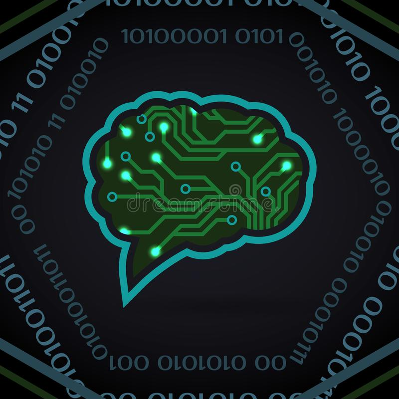 Vektorillustration der künstlichen Intelligenz der Leiterplatte auf Dunkelheit stock abbildung