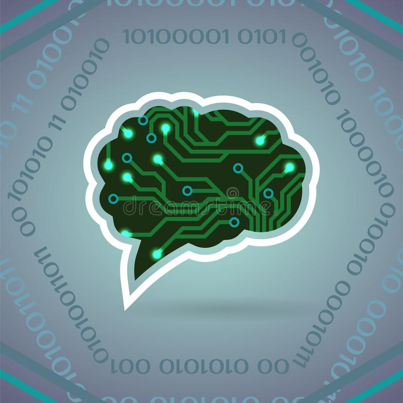 Vektorillustration der künstlichen Intelligenz der Leiterplatte auf hellgrauem stock abbildung