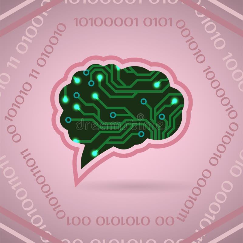 Vektorillustration der künstlichen Intelligenz der Leiterplatte auf Rosa lizenzfreie abbildung