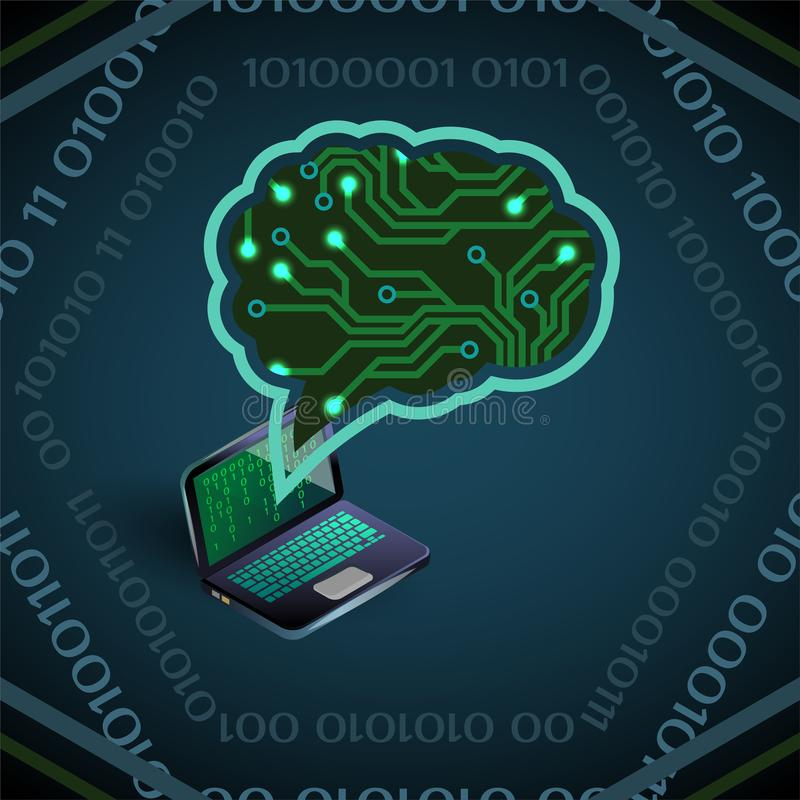 Vektorillustration der künstlichen Intelligenz der Leiterplatte und des Laptops auf Blau lizenzfreie abbildung