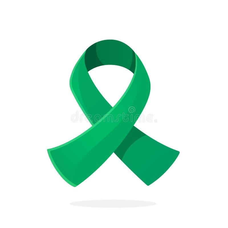 Vektorillustration in der Karikaturart Smaragd- oder Jadeband, internationales Symbol des Bewusstseins über Hepatitis B und Leber lizenzfreie abbildung
