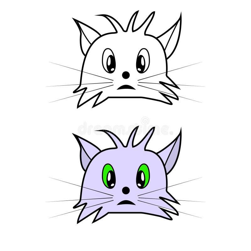 Vektorillustration der Katzenkopf-Karikaturart vektor abbildung
