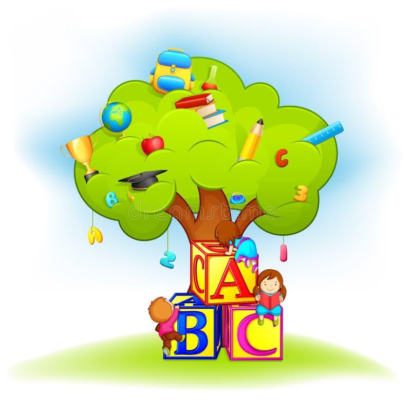 Scherzt kletternden Klugheits-Baum vektor abbildung