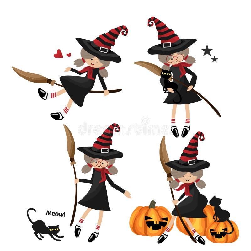 Vektorillustration der kleinen Hexensammlung Halloweens vektor abbildung